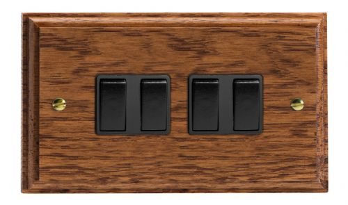 Varilight XK9MOB Kilnwood Medium Oak 4 Gang 10A 1 or 2 Way Rocker Light Switch
